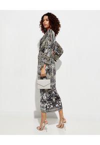 Camilla - CAMILLA - Sukienka midi z rozcięciem. Kolor: szary. Materiał: tkanina. Typ sukienki: asymetryczne, rozkloszowane. Styl: elegancki. Długość: midi