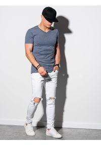 Niebieski t-shirt Ombre Clothing melanż
