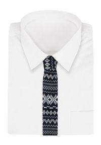 Granatowo-Biały Dziergany, Męski Krawat Knit, 5,5 cm -Alties- Wzór Norweski, Świąteczny. Kolor: niebieski. Materiał: poliester. Styl: wizytowy