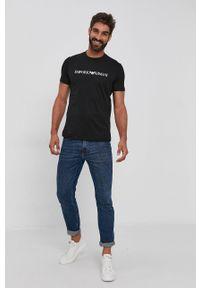 Emporio Armani - T-shirt bawełniany. Okazja: na co dzień. Kolor: czarny. Materiał: bawełna. Wzór: nadruk. Styl: casual
