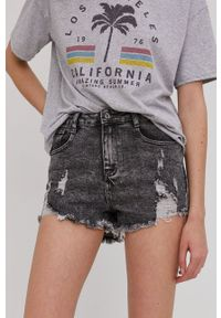 Answear Lab - Szorty jeansowe. Okazja: na co dzień. Stan: podwyższony. Kolor: szary. Materiał: jeans. Styl: wakacyjny