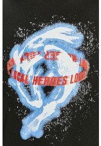 Czarna bluza nierozpinana Local Heroes z nadrukiem, z kapturem