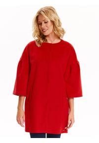 TOP SECRET - Płaszcz damski zapinany z modnym dzwonkowym rękawem. Okazja: na co dzień. Kolor: czerwony. Długość rękawa: krótki rękaw. Sezon: jesień, zima. Styl: casual, elegancki #1