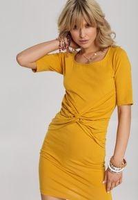 Renee - Żółta Sukienka Melonna. Kolor: żółty