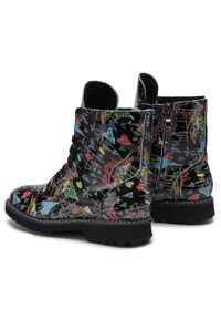 Czarne buty trekkingowe Oleksy w kolorowe wzory