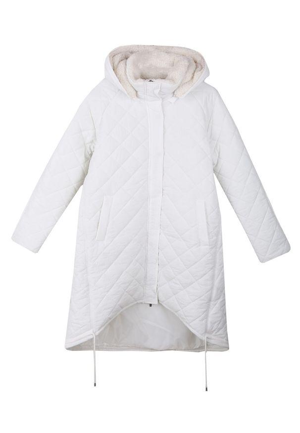 Biała kurtka TOP SECRET na jesień, długa, w kolorowe wzory