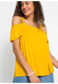 Shirt cold-shoulder bonprix żółty szafranowy. Kolor: żółty