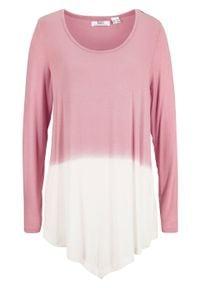 Shirt z dołem w szpic i efektem cieniowania, długi rękaw bonprix dymny jasnoróżowy - biel wełny. Kolor: fioletowy. Materiał: wełna. Długość rękawa: długi rękaw. Długość: długie