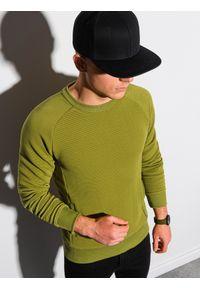 Ombre Clothing - Bluza męska bez kaptura B1156 - oliwkowa - XXL. Typ kołnierza: bez kaptura. Kolor: oliwkowy. Materiał: dresówka, dzianina, poliester, jeans, bawełna