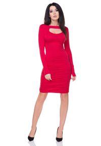 Tessita - Czerwona Marszczona Sukienka Bodycon z Wyciętym Dekoltem. Kolor: czerwony. Materiał: wiskoza, elastan, akryl. Typ sukienki: bodycon