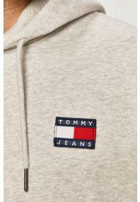 Szara bluza nierozpinana Tommy Jeans z aplikacjami, z kapturem