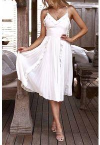 Biała długa sukienka IVET na lato, z falbankami
