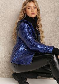 Renee - Granatowa Kurtka Sraosha. Kolor: niebieski. Wzór: aplikacja