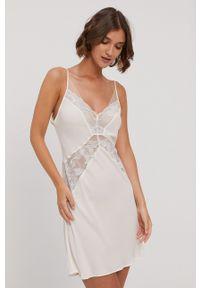 Calvin Klein Underwear - Koszula nocna. Kolor: biały. Materiał: satyna, materiał, koronka. Wzór: ze splotem
