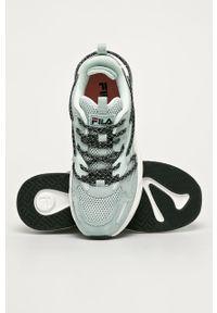 Turkusowe buty sportowe Fila na sznurówki, z cholewką, z okrągłym noskiem
