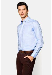 Lancerto - Koszula Niebieska Maia 5. Kolor: niebieski. Materiał: bawełna, tkanina. Wzór: haft. Styl: wizytowy