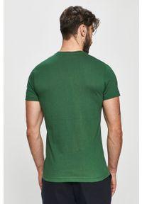 Zielony t-shirt Lacoste casualowy, z okrągłym kołnierzem
