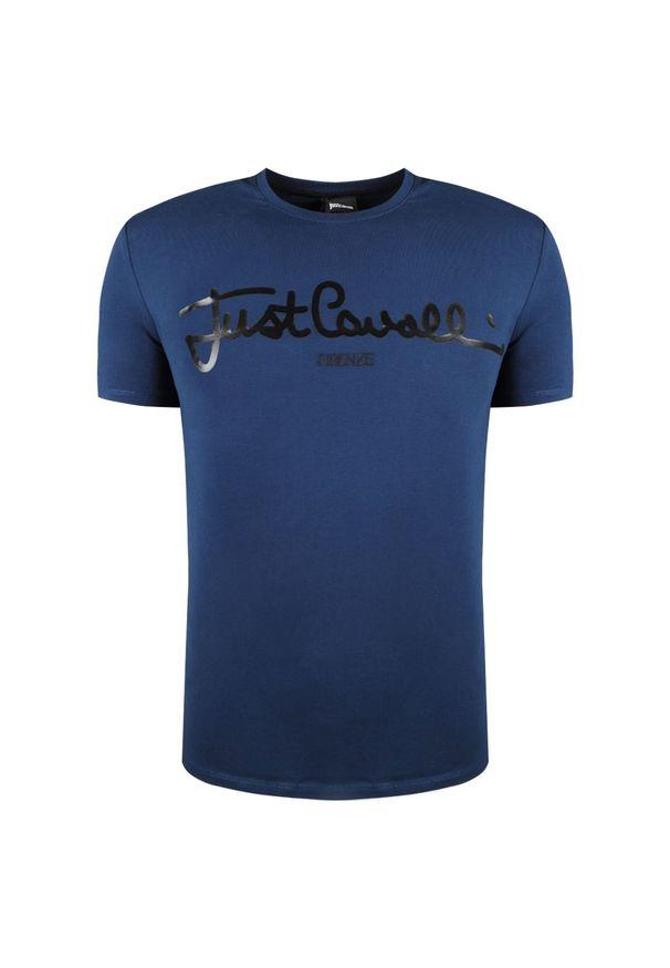T-shirt Roberto Cavalli na co dzień, casualowy, z okrągłym kołnierzem, z nadrukiem