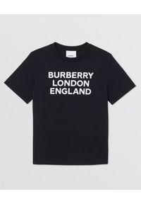 BURBERRY CHILDREN - Czarny t-shirt 4-14 lat. Okazja: na co dzień. Kolor: czarny. Materiał: bawełna. Wzór: nadruk. Sezon: lato. Styl: casual