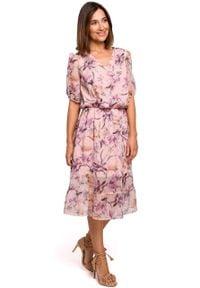 e-margeritka - Sukienka szyfonowa z falbaną - l. Typ kołnierza: dekolt w serek. Materiał: szyfon. Wzór: kwiaty. Sezon: lato, wiosna. Typ sukienki: rozkloszowane. Styl: elegancki. Długość: midi
