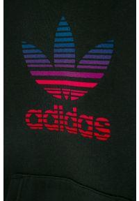 Czarna bluza adidas Originals casualowa, z kapturem, na co dzień, z nadrukiem