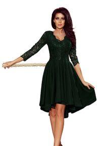 Numoco - Ciemnozielona Wieczorowa Asymetryczna Sukienka z Koronką. Kolor: zielony. Materiał: koronka. Wzór: koronka. Typ sukienki: asymetryczne. Styl: wizytowy