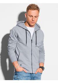 Ombre Clothing - Bluza męska rozpinana z kapturem B1145 - szara - XXL. Typ kołnierza: kaptur. Kolor: szary. Materiał: bawełna. Styl: klasyczny