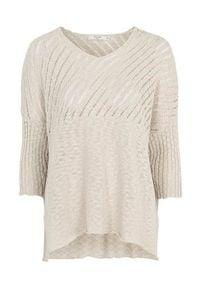 Cellbes Sweter typu oversize z ażurowym haftem złamana biel female biały 46/54. Typ kołnierza: dekolt w serek. Kolor: biały. Materiał: prążkowany. Wzór: haft, ażurowy. Styl: elegancki