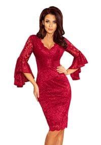 Numoco - Bordowa Wieczorowa Sukienka Koronkowa z Hiszpańskim Rękawem. Kolor: czerwony. Materiał: koronka. Styl: wizytowy