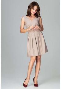Beżowa sukienka Katrus z kokardą, elegancka #1