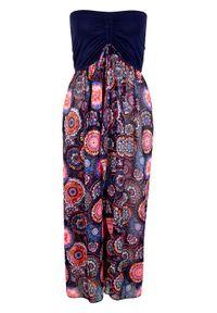 Sukienka plażowa bonprix ciemnoniebiesko-różowy wzorzysty. Okazja: na plażę. Kolor: niebieski