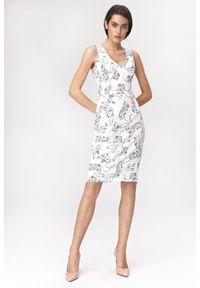 Nife - Elegancka ołówkowa sukienka na szerokich ramiączkach. Długość rękawa: na ramiączkach. Sezon: lato. Typ sukienki: ołówkowe. Styl: elegancki. Długość: mini