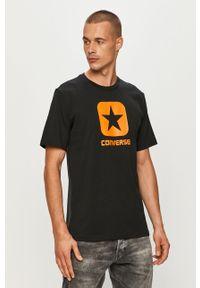 Czarny t-shirt Converse z okrągłym kołnierzem, z nadrukiem, casualowy, na co dzień
