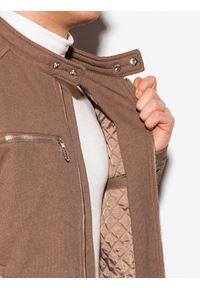 Brązowa kurtka Ombre Clothing ze stójką, na wiosnę