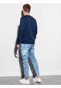 Niebieska bluza Ombre Clothing z nadrukiem, klasyczna, bez kaptura