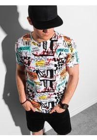 Ombre Clothing - T-shirt męski z nadrukiem S1418 - biały - XXL. Kolor: biały. Materiał: poliester, bawełna. Wzór: nadruk