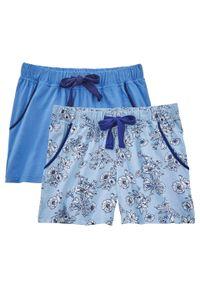 Szorty do spania (2 pary) bonprix jasnoniebieski w kwiaty + jasnoniebieski