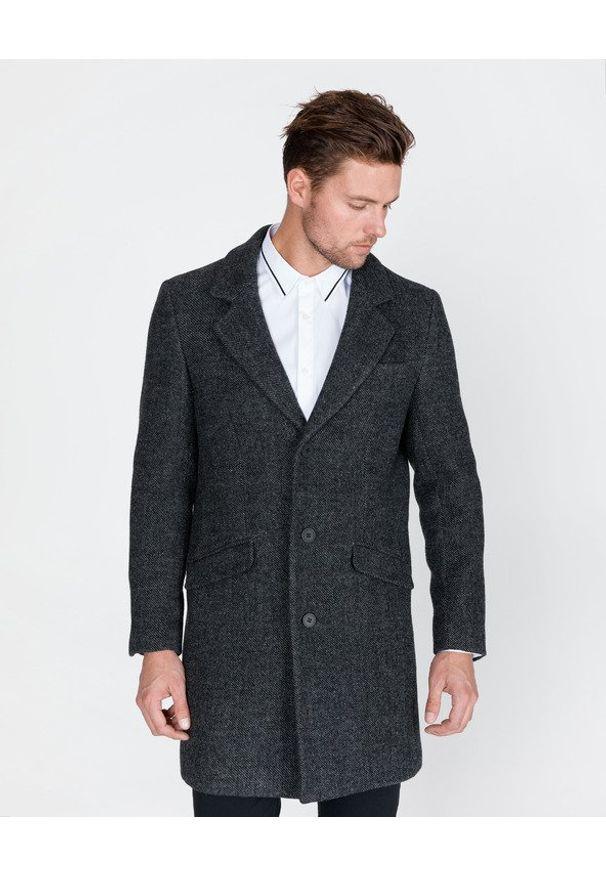 Szary płaszcz Antony Morato na zimę, na co dzień, w kolorowe wzory, długi