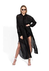 ROBERT KUPISZ - Czarna koszula ORIENT HOOD LONG. Kolor: czarny. Materiał: bawełna. Długość rękawa: długi rękaw. Długość: długie. Wzór: nadruk