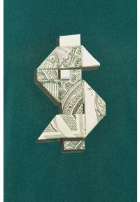 Zielony t-shirt John Frank casualowy, z nadrukiem