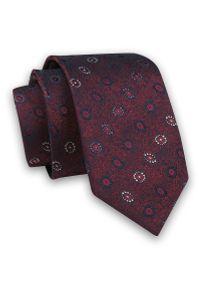 Czerwony krawat Angelo di Monti elegancki, w geometryczne wzory