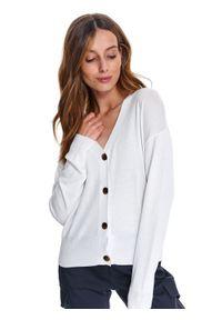 Biały sweter TOP SECRET w kolorowe wzory, klasyczny, na co dzień, z długim rękawem