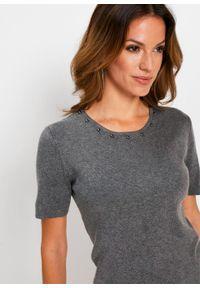 Szary sweter bonprix z krótkim rękawem, melanż