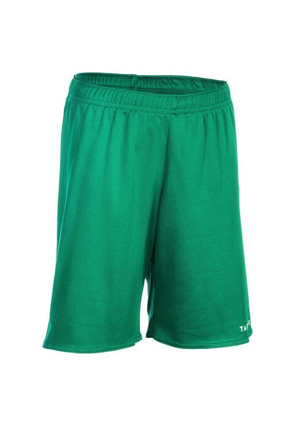TARMAK - Spodenki koszykarskie dla dzieci Tarmak SH100 zielone. Kolor: biały, zielony, wielokolorowy. Materiał: poliester, materiał. Sport: koszykówka