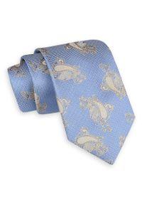 Niebiesko-Beżowy Szeroki Krawat -Angelo di Monti- 7 cm, Męski, Wzór Paisley, Łezki. Kolor: niebieski, beżowy, brązowy, wielokolorowy. Wzór: paisley. Styl: wizytowy, elegancki