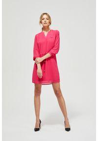 MOODO - Zwiewna sukienka z szyfonu. Materiał: szyfon. Wzór: gładki