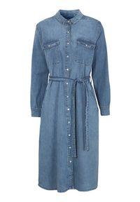 Cellbes Dżinsowa sukienka z zatrzaskami błękitny denim female niebieski 62/64. Kolor: niebieski. Materiał: denim. Długość rękawa: długi rękaw