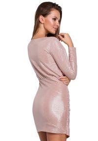 Sukienka na imprezę asymetryczna, mini, z długim rękawem