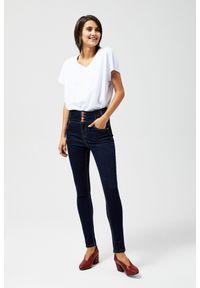 Niebieskie jeansy MOODO z podwyższonym stanem, długie