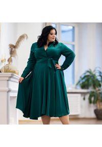 Zielona sukienka dla puszystych Moda Size Plus Iwanek na zimę, z dekoltem w kształcie v